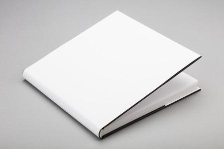 libro abierto: Libro en blanco con tapa blanca entreabierta Foto de archivo