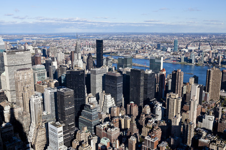 populous: New York City, USA - September 30, 2011: New York  Uptown at dusk, with a Census-estimated population of over 8.4 million in 2013 is the most populous city in the United States