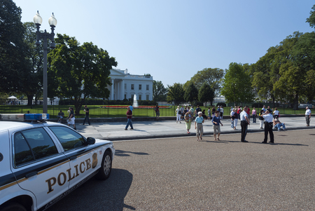 guard house: Washington D.C., USA, White House - September 22, 2010: The White House. The Secret Services guard watch the White House in Washington D.C.