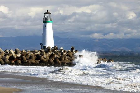 storm tide: Lighthouse Walton on Santa Cruz Shore