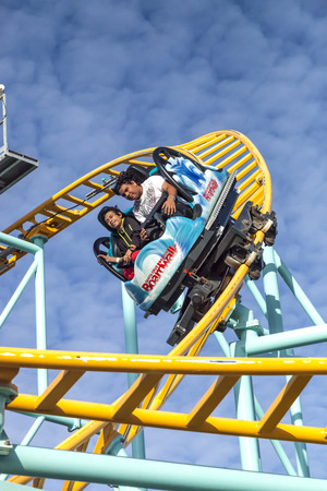 santa cruz: Santa Cruz, California, USA-November 15, 2014 : Northern`s California only spinning coaster. Track lenght 1410 ft and maximum speed is up to 40 mph. Taken in Santa Cruz Beach Boardwalk`s Park