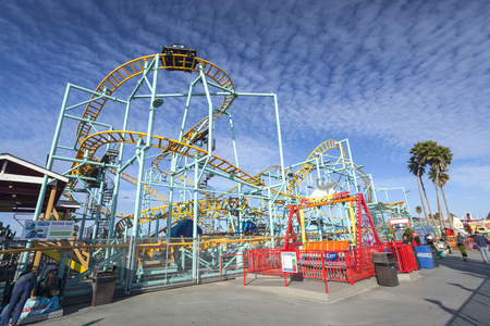 mph: Santa Cruz, California, USA-November 15, 2014 : Northern`s California only spinning coaster. Track lenght 1410 ft and maximum speed is up to 40 mph. Taken in Santa Cruz Beach Boardwalk`s Park