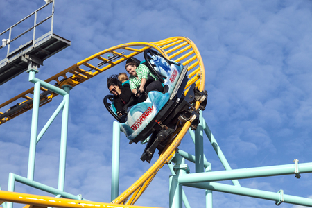 Santa Cruz, California, USA-November 15, 2014 : Northern`s California only spinning coaster. Track lenght 1410 ft and maximum speed is up to 40 mph. Taken in Santa Cruz Beach Boardwalk`s Park