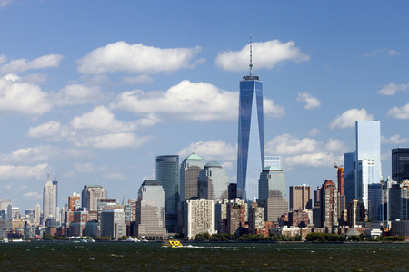 world trade: NEW YORK - OCTOBER 6: Freedom Tower in Lower Manhattan on October 6, 2014. One World Trade Center is the tallest building in the Western Hemisphere and the third-tallest building in the world