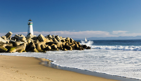 shore: Lighthouse Walton on Santa Cruz Shore, California, USA Stock Photo