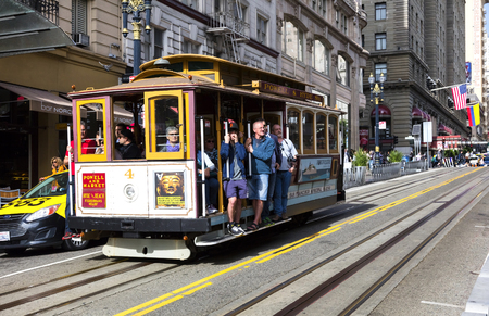 San Francisco, USA - November 7, 2016: The Cable car tram. The San Francisco cable car system is world last permanently manually operated cable car system. Lines were established betw. 1873 and 1890. Editorial