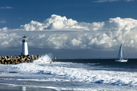 Lighthouse Walton on Santa Cruz Shore, California, USA Stock Photo