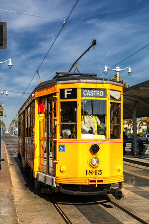 San Francisco, USA - November 5, 2016 : Historic street car transporting passengers in San Fransisco CA, USA. San Francisco street cars come from all around the world.