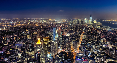 New York City, USA - October 5, 2016: New York panorama from Uptown to Downtown in the night, with a Census-estimated population of over 8.4 million in 2013 is the most populous city in the United States.