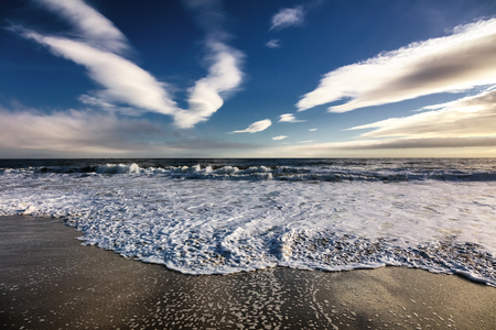 sea scenery: Beautiful scenery on the sea shore, the waves and sunset