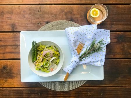 Vegeable salad as breakfast with asparagus and avocado Reklamní fotografie