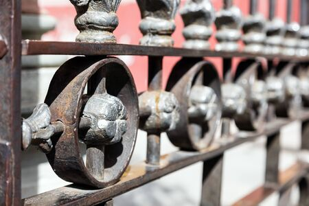 Metal fence with ornamental design
