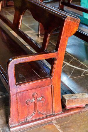 Wooden Church Bench with ornamental style Reklamní fotografie - 138332041