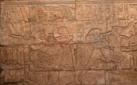 Hieroglyph in old historic place in Luxor Egypt Hieroglyph photo