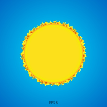 Abstract sun on a blue background  Vector