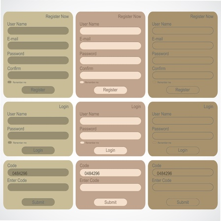 Login and register web forms Stock Vector - 13107266