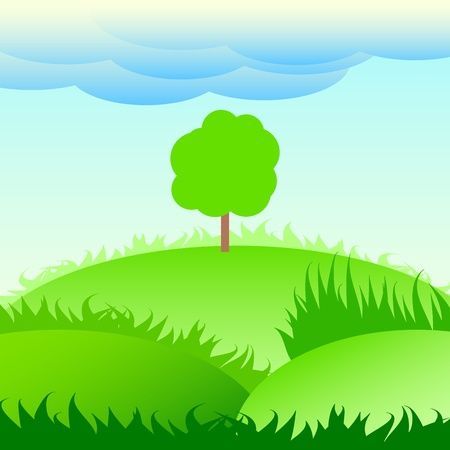 lonely tree on a green meadow Stock Vector - 13797897