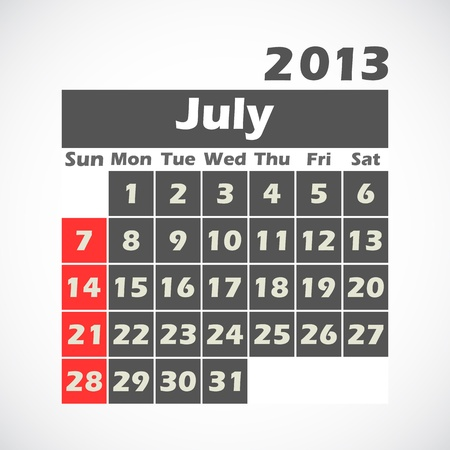 calendar 2013 July Stock Vector - 14227395