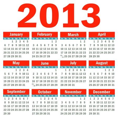 Calendar 2013 Stock Vector - 14679653