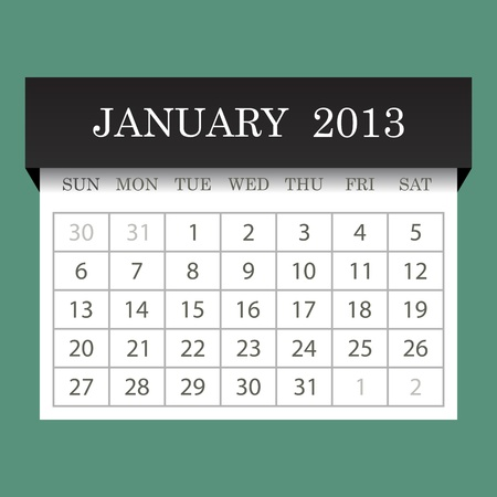 Calendar 2013 January Stock Vector - 14771398