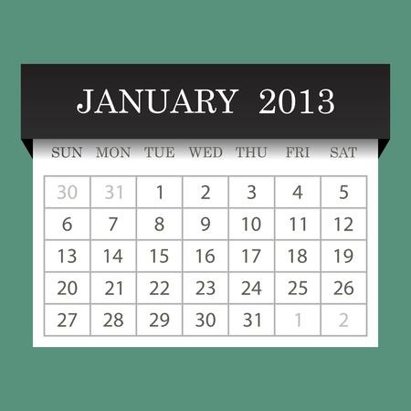 Calendar 2013 January Vector