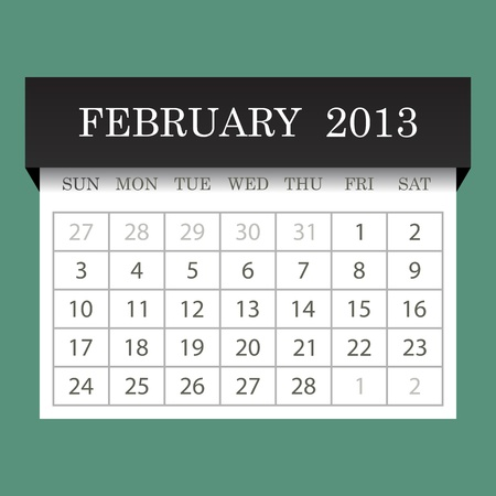 Calendar 2013 February Vector