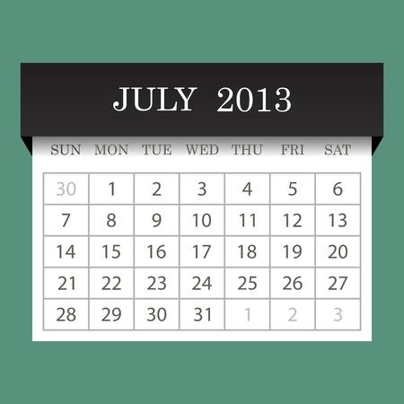 Calendar 2013 July Vector