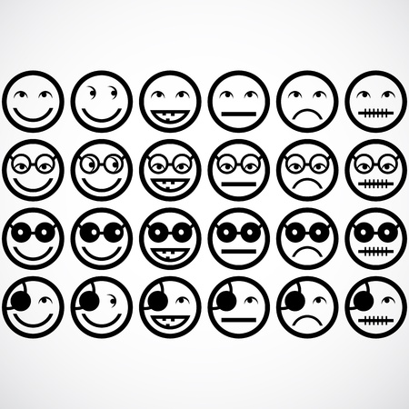 face expressions: smile face icons  Illustration