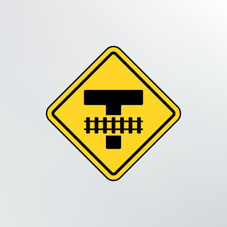 railroad crossing: Warning traffic Railroad crossing icon.Vector illustration.