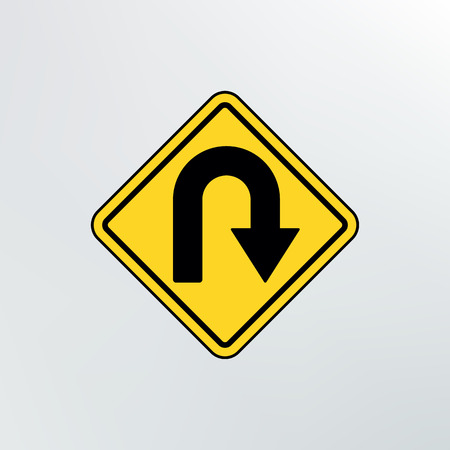 curve ahead sign: Hairpin curve warning icon.Vector illustration. Illustration