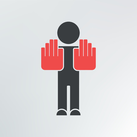 two hands stop sign illustration. Vector