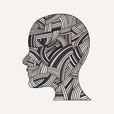 structured: woman head.vector illustration.