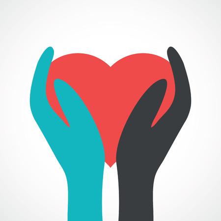 manos unidas: dos manos que sostienen ilustraci�n heart.Vector.