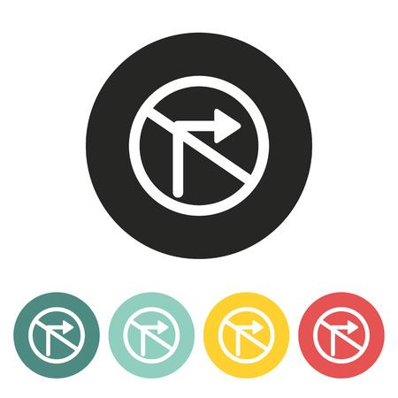 obedecer: No ilustración de la derecha signo icon.Vector tráfico de la vuelta.