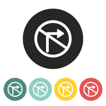 obey: No right turn traffic sign icon.Vector illustration.