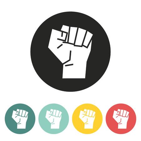 Raised fist icon.vector illustration. Vectores
