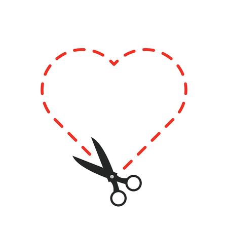 cutting sticker: Cut out heart.vector illustration.