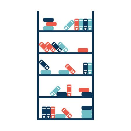 magazine stack: bookshelf.vector illustration. Illustration