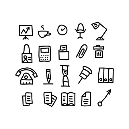 office doodles Icons.vector illustration. Illustration