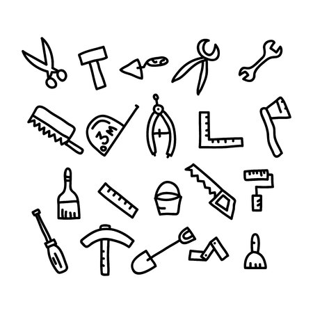 hand tools doodle.vector illustration. Stock Vector - 50938181