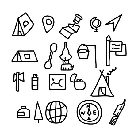 travel and tourism doodles icon.vector illustration.
