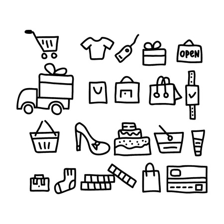 purchases: purchases doodles icon.vector illustration.