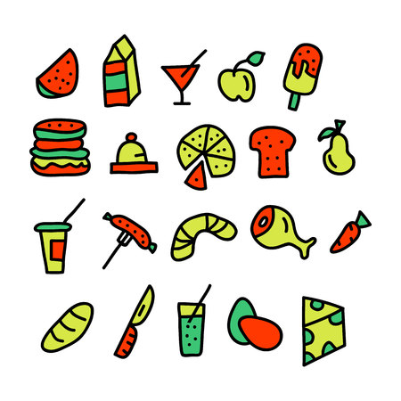 food doodle collection.vector illustration.
