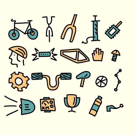 bicycle parts and accessories.vector illustration. Illustration