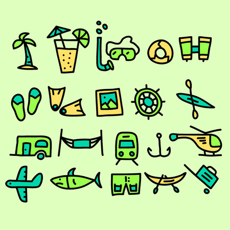Tourism and Travel doodle collection.vector illustration.