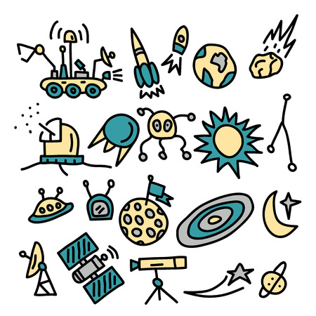 space doodles collection.vector illustration.