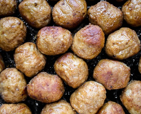 Fried meat meatballs close up