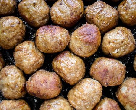 Cerrar las albóndigas de carne frita Foto de archivo