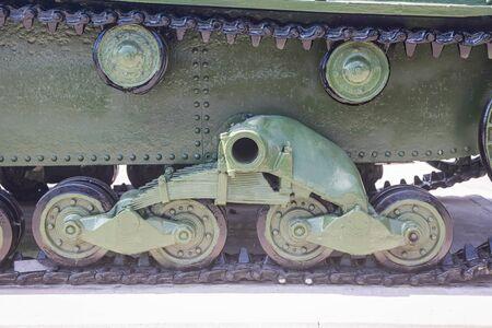 Support rollers of the t-26 light Soviet tank, daylight illumination