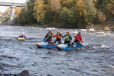 27.09.2020 Russia, Leningrad region, Losevo village, sports rafting training on the rapids of the Vuoksa river